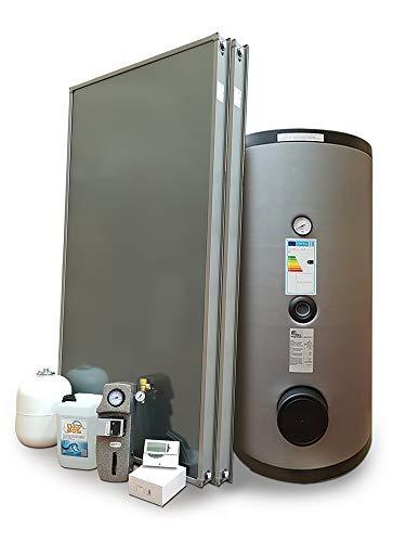Kit de sistema solar térmico circulación forzada para producción de agua caliente sanitaria, 3 – 4 personas, hervidor 300 litros, FKS (1, sistema con hervidor doble tetina)