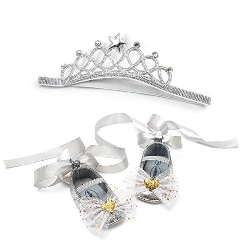 Baby Mädchen Prinzessin Kleid Schuhe mit Stirnband Geschenkset für Party Hochzeit Anti-Rutsch Baby Lauflernschuhe mit Schleife, - silberfarben - Größe: 12-18 Monate