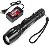 Handheld 18650 Flashlight,UltraFire 1000 Lumens 5 Modes Led Tactical Flashlights,Zoomable,Waterproof,With 2PCS UFB26 3.7V 2600mAh Rechargeable Battery and Charger for Outdoor Camping Hiking Cycling