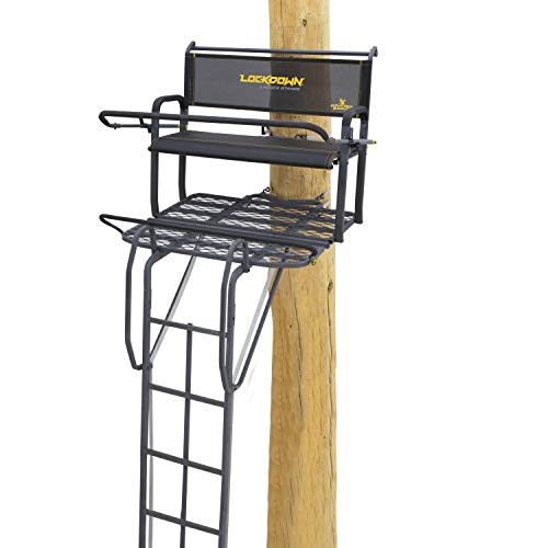 """Rivers Edge LD202, Lockdown 21' 2-Man Ladder Tree Stand, Extra Tall 21' Height with Flip-up TearTuff Bench Seat, Wide 42"""" Platform, Ultimate Shooting Rail, Flip-Out Footrest, 3rd Ladder Rail, Back/Ar"""