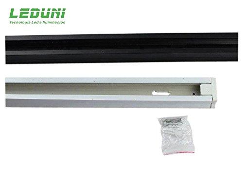 LEDUNI ® Carril Monofásico para Focos de Carril 1 Metros Color blanco Alimentación 220V Dimensión 980X42X20H mm Aluminio