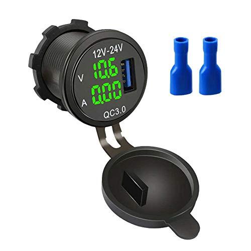 XJF Cargador de coche USB, QC3.0 USB, enchufe de alimentación impermeable con voltímetro LED para coche, barco, camión de 12 V - 24 V