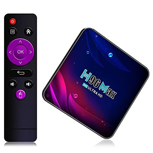 H96 Max Android TV Box 9.0 4GB RAM + 64GB ROM Caja Android TV S905X3 Quad-Core 64bit Cortex-A55 Bluetooth 4.1 LAN 1000M Dual-WiFi 2.4GHz/5GHz USB 3.0, soporta 4K 60Hz Full HD / 3D / H.265 TV Box