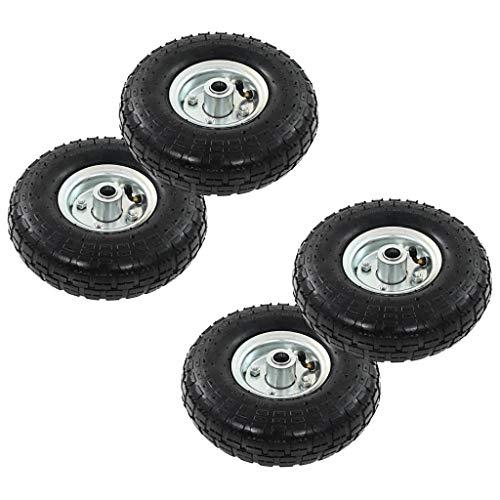 Festnight Sackkarrenräder 4 STK. | Sackkarre Ersatzrad Rad Reifen | Handkarren Rollwagen Ersatzreifen | Gummi 4,10/3,50-4 (260x83)