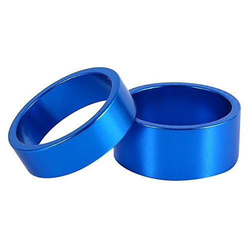 Keenso Headset Spacer, Aluminiumlegierung Headset Spacer Mountainbike Vorderradgabel Unterlegscheibe 4St./Set 5mm/10mm/15mm/20mm(Blau)