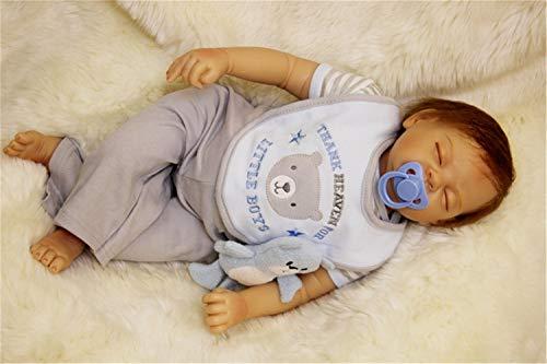 """ZIYIUI Hecho a Mano 22"""" 55 cm Muñecas bebé Reborn Suave Vinilo Silicona Muñeca durmiendo Renacido Juguetes para Niños"""