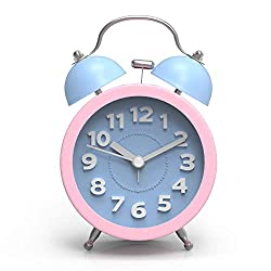 ARTCHE 3 Mini Classic Analog Twin Bell Alarm Clock for Heavy Sleepers with Non-Ticking, Backlight,Large Number ,Battery Operated for Bedroom,Office (Blue&Pink)