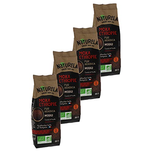 Naturela Café Moulu Bio Moka Éthiopie Pur Arabica - 250 g - Lot de 4
