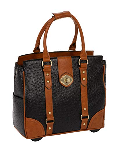 JKM & Company A-List Ostrich Computer iPad, Laptop Tablet Rolling Tote Bag Briefcase Carryall Bag