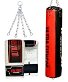 ULTRA FITNESS 4ft 5ft Heavy Filled Boxing Punch Bag set with Chain and Training Mitts (Black and Red, 4ft)