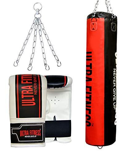 ULTRA FITNESS Saco de Boxeo Lleno de 4 pies y 5 pies con Guantes y Cadena Colgante, Negro y Rojo, 5ft