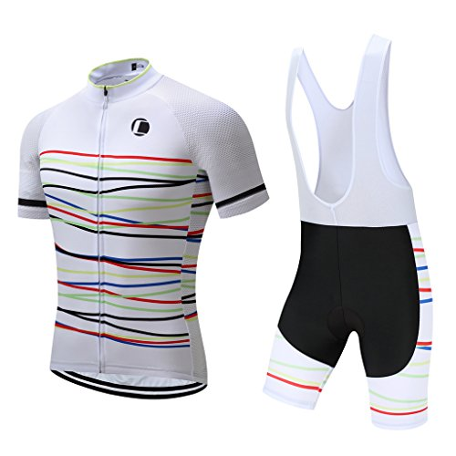 Summer Men's Cycling Jersey Road Bike Jersey Cycling Bib Shorts with 4D Padded Cycling Clothing Set for Men (L,1032)