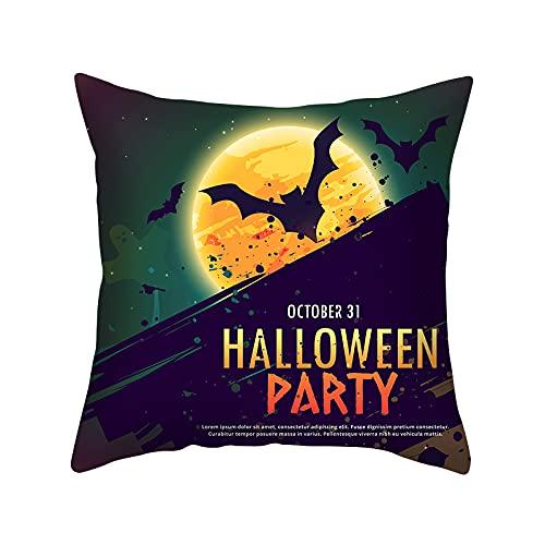 Funda de Almohada de Halloween 45x45cm Asiento Dormitorio Pareja Funda de cojín (murciélago Oscuro) -sin Almohada