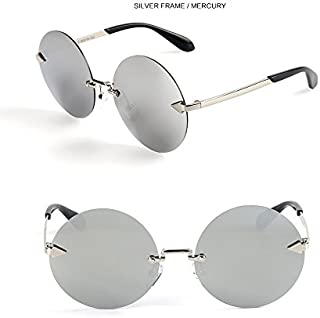 Sunglasses Child Sunglasses Fashion Round Frameless Children Polaroid Sunglasses Boys Girls Kids Baby Goggles UV400 Mirror Accessories for Summer Beach (Color : Silver)