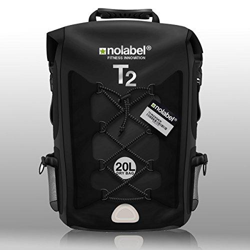 No Label Mochila Deportiva de 20L Impermeable - T2 Mochila para Ciclismo Running Triatlón y Deportes acuáticos. Protege del Polvo, la Arena, el Agua y la Suciedad Color Negro