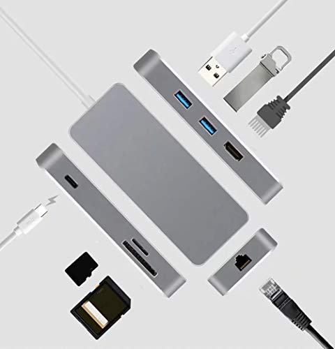 USB C Hub- 7 in 1 USB C Adapter with Multi-Purpose PD Charging Fast Ethernet USB 3.0 HDMI 2k/4k Interface SD SD/TF Card Reader, 3.5mm for MacBook Laptops (Space Grey)