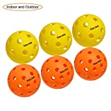 EasyTime Pickleball Balls Outdoors Balls with 40 Small Precisely Drilled Holes & Indoor Balls with 26 Drilled Holes USAPA Approved (Both 6-Pack)