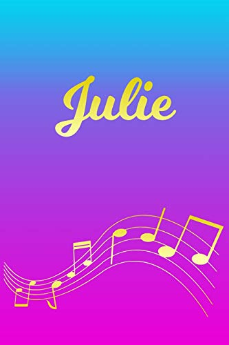 Julie: Sheet Music Note Manuscript Notebook Paper – Pink Blue Gold Personalized Letter J Initial Custom First Name Cover – Musician Composer … Notepad Notation Guide – Compose Write Songs