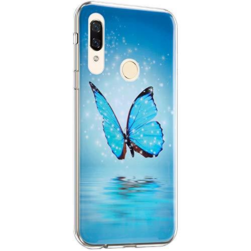 Surakey Coque pour Huawei P Smart Z Étui Silicone,Lumineux Motif Ultra Mince Souple TPU Housse Protection Case Anti-Rayures Anti Choc Housse Étui pour Huawei P Smart Z,Papillon bleu