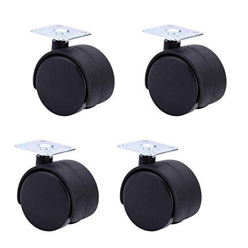 Ruedas giratorias universales para muebles con ruedas de 4 piezas, 360 grados;Ruedas giratorias, Ruedas giratorias para servicio pesado, Ruedas giratorias pequeñas de nailon, con accesorios, Negro