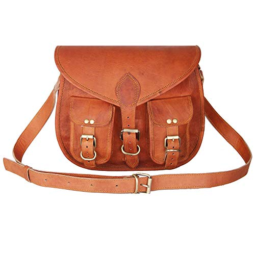 Women's Handmade Leather Boho- 13 Inch Gypsy Purse by Leather Native – Fashionable and Durable – Scratch-Resistant Frame Bag – Brown Shoulder Bag