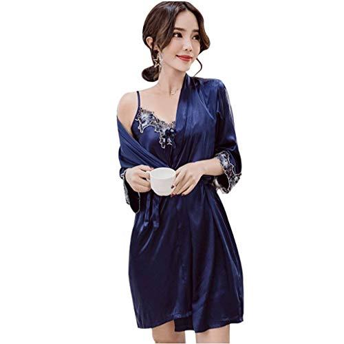 Albornoz Mujer Otoño Moda Splice Encaje Pijamas Mujer con Cinturón Modernas Casual Manga Largo V-Cuello Camisón Vestido Batas (Color : Dunkelblau, Size : XL)