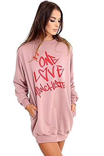 Momo&Ayat Fashions Mujer Chica Una Amor Manchester Sudadera Camiseta de Euros tamaño 36–44 Pink -Sweatshirt 36