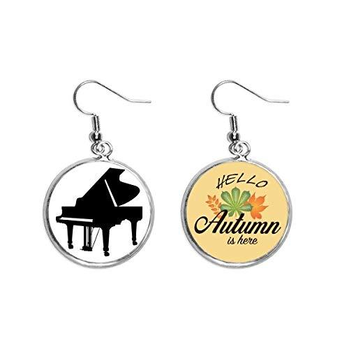 Piano Classical Music Instrument Pattern Ohrläppchen Anhänger Herbst Blatt Ohrring Schmuck