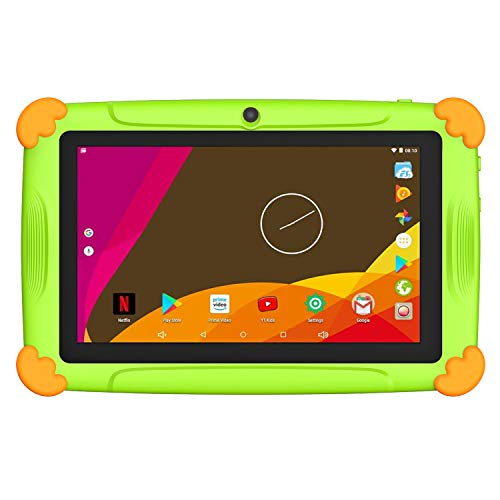 Tablet para niños de 7 pulgadas con WiFi 2 GB RAM 32 GB ROM Android Quad Core Soporte Youtube Netflix Google Play 1 a 7 años educativo – Verde