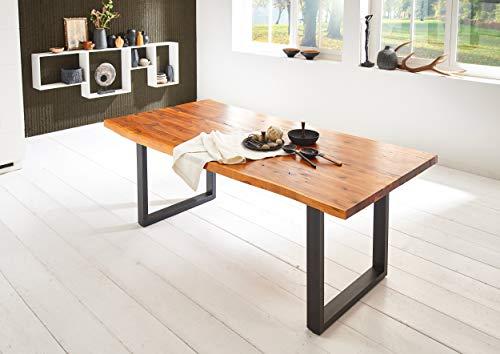 SAM Esszimmertisch Inka 160 x 85 cm, Akazienholz massiv, cognacfarben, Baumkantentisch mit Metallgestell in schwarz, Baumtisch-Platte 35 mm