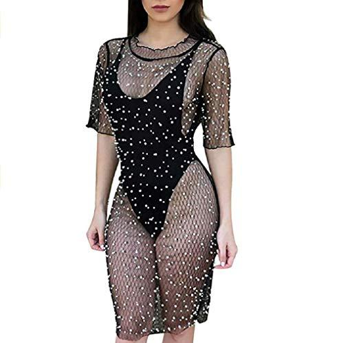 Aimeio Damen Sexy Mesh Durchsichtig Kleid Fischnetz Perlen Schwarz Größe L