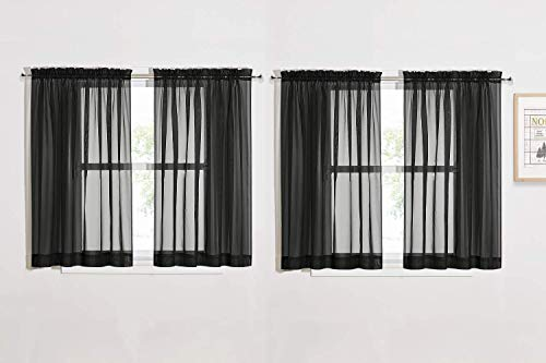 NICETOWN Black Sheer Curtains for Small Windows W60 x L45, Rod Pocket Lightweight Sheer Window Treatments for Bedroom/Dining Room, 4 Panels