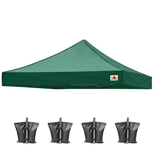 ABCCANOPY Replacement Tent Top Cover, Instant Pop up Canopy Top Cover ONLY, Bonus 4 Weight Bags (10x10, Forest Green)