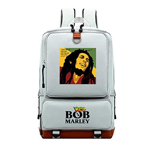 Mochila,Colegio Bolso Estudiante Cartera,Bob Marley Ocio Impreso Mochila Vistiendo Cómodo/gris / 43×28×14cm