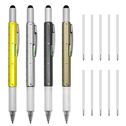 Dcola multitool stift, 4 Stück 6 in 1 Multifunktionsstift mit Kugelschreiber, Touchscreen-Stift, Wasserwaage, Lineal, Flachkopf- und Kreuzschraubendreher und 10 Nachfüllungen für Männer (1.0 mm)