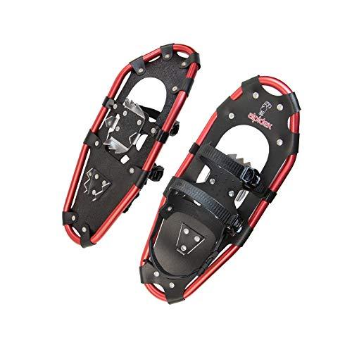 ALPIDEX Raquetas Nieve Aluminio Bolsa Incluida Bastones Aluminio Opcional Hombre Mujer, Color:Black/Red 21