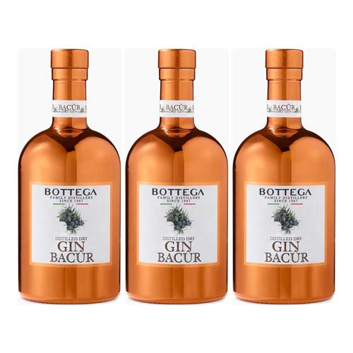 3x Bottega Bacur Distilled Dry Gin, 500 ml