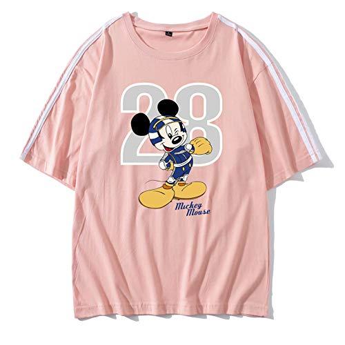 NOBRAND - Camiseta de manga corta para mujer (algodón suelto), diseño de Mickey Mouse