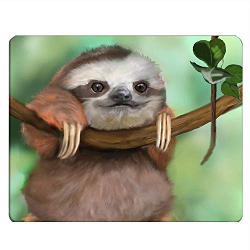 Nicokee Sloth Gaming Mousepad Cartoon Lovely Baby Sloth Hang On Tree Mouse Pad Mouse Mat for Computer Desk Laptop Office 9.5 X 7.9 Inch Non-Slip Rubber