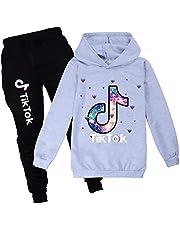 TIK-TOK sudadera con capucha y pantalones de chándal a la moda, traje de dos piezas para niños y niñas