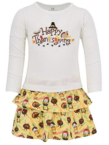 Unique Baby Girls Happy Thanksgiving Layered Skirt Shirt Fall Dress Outfit (6) Brown