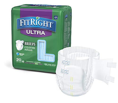FitRight Ultra Adult Diapers, Disposable Incontinence Briefs with Tabs, Heavy Absorbency, Large, 48'-58', 4 packs of 20 (80 total)