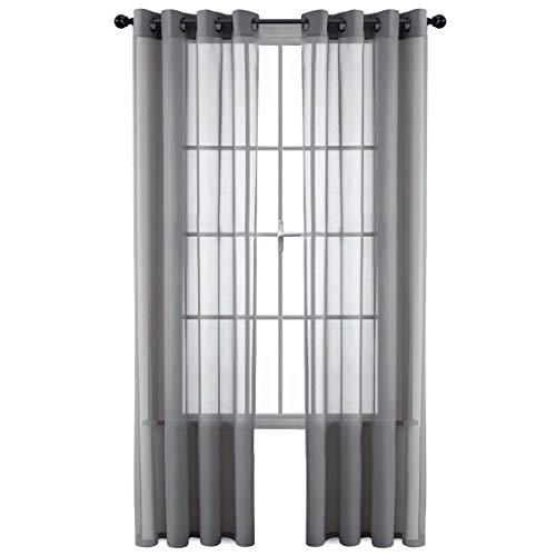 GoodGram 2 Pack Ultra Luxurious High Woven Elegant Sheer Grommet Curtain Panels - Assorted Sizes & Colors (Gray, 84 in. Long)