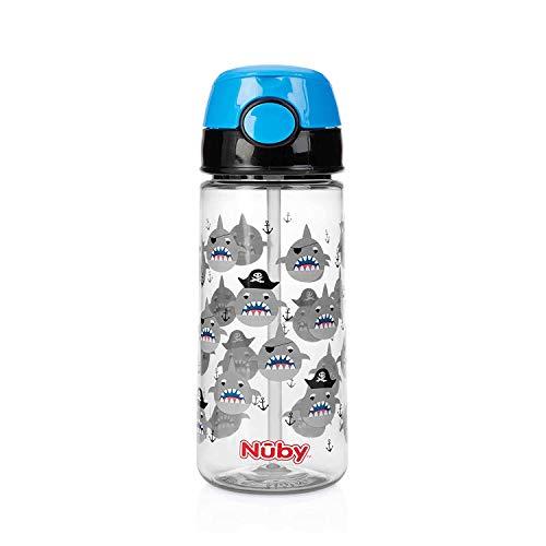 Nuby - Becher aus Tritan mit weichem Trinkhalm und Drückknopf - 530 ml- 3 Jahre+, Blue