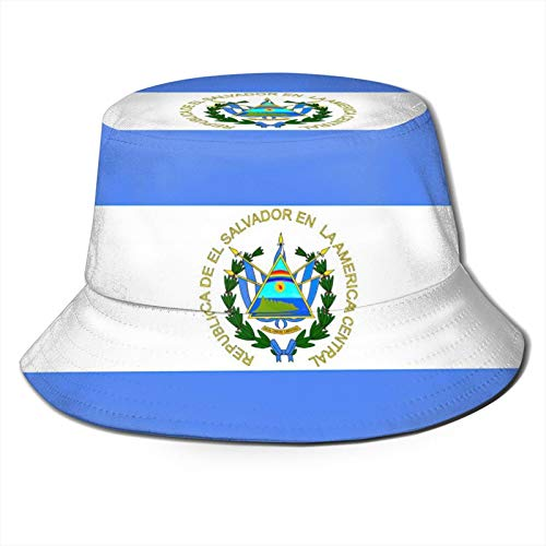 KXT El Salvador Flag Bucket Hats,Summer Travel Beach Sun Hat,Trendy Sun Fishing Hat Fashion Cap,Unisex Outdoor Cap Black