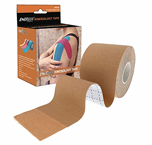 Energia Fitness Kinesiology Tape 2 inch x 16.4 feet Uncut Roll Hypoallergenic Elastic Waterproof Breathable Medical Cotton Athletic Sports Tape for Pain Relief (Nude)