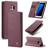 AKC Funda Compatible para Samsung Galaxy S7 Edge Carcasa con Flip Case Cover Cuero Magnético Plegable Carter Soporte Prueba de Golpes Caso-Vino Rojo