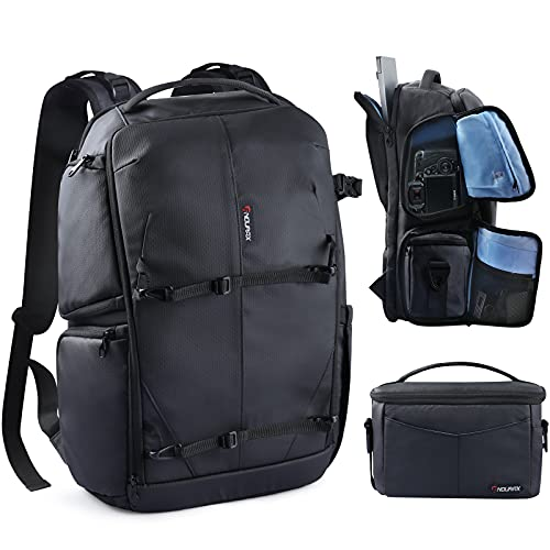 Endurax Camera Backpack with Shoulder Camera Bags for Photographers, Waterproof Camera Bag for DSLR Canon Nikon with 15.6 Laptop Compartment & Tripod Holder