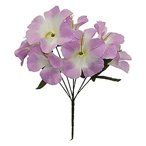 LINESS for 5X Hibiscus Artificial Silk Flowers Centerpiece Fake Faux Bouquet Party Tropical DIY LINESS for Wedding Flowers, Petals & Garlands Floral Décor – Color is Lavender Lilac