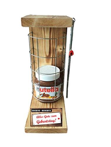 Alles Gute zum Geburtstag Eiserne Reserve Befüllung mit Nutella 450g Glas - incl. Säge zum zersägen des Gitter - Geschenk für Männer und Frauen - Geschenkidee